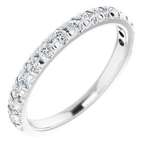 14K White 1/2 CTW Diamond French-Set Anniversary Band
