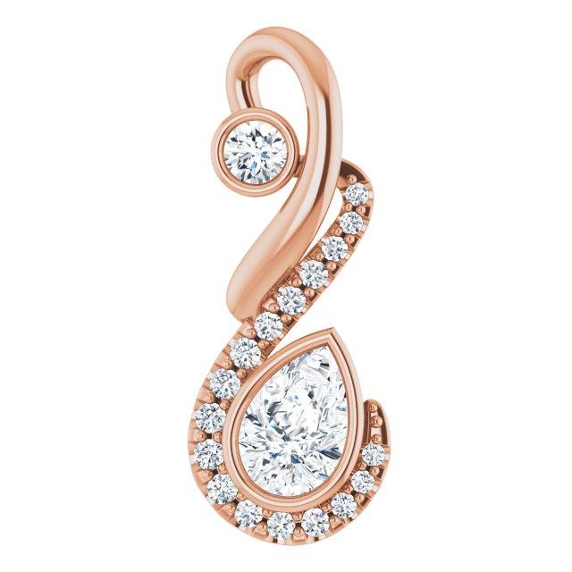 14K Rose Freeform 1/2 CTW Diamond Pendant
