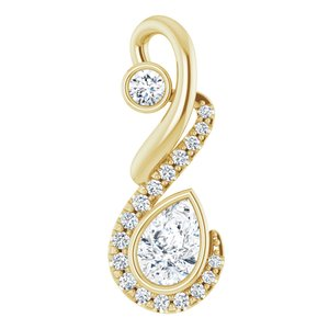 14K Yellow Freeform 1/2 CTW Diamond Pendant