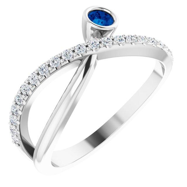 14K White Blue Sapphire & 1/5 CTW Diamond Ring