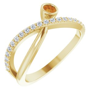 14K Yellow Citrine & 1/5 CTW Diamond Ring