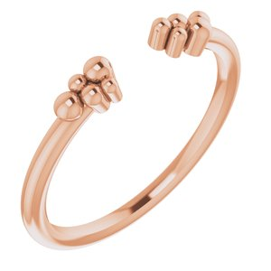 14K Rose Stackable Beaded Negative Space Ring
