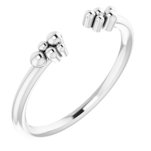 Sterling Silver Stackable Beaded Negative Space Ring