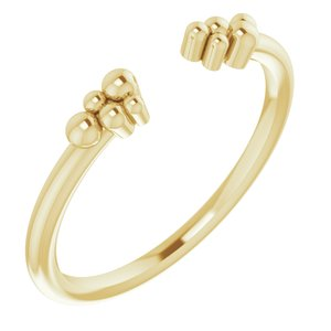 14K Yellow Stackable Beaded Negative Space Ring