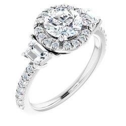 Halo-Style French-Set Engagement Ring or Band