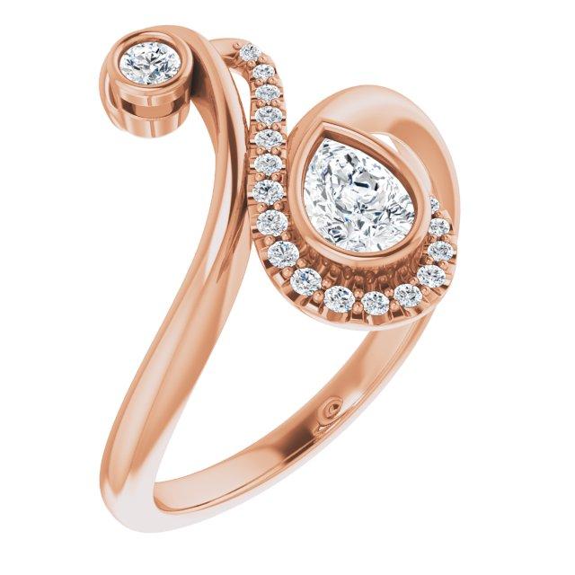 14K Rose 1/2 CTW Diamond Bezel-Set Bypass Ring