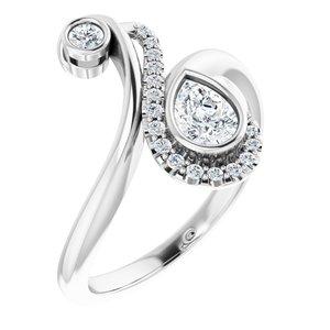 14K White 1/2 CTW Diamond Bezel-Set Bypass Ring