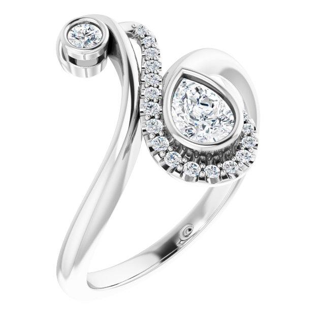 Platinum 1/2 CTW Diamond Bezel-Set Bypass Ring