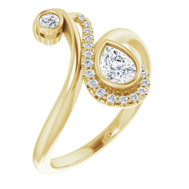 14K Yellow 1/2 CTW Diamond Bezel-Set Bypass Ring