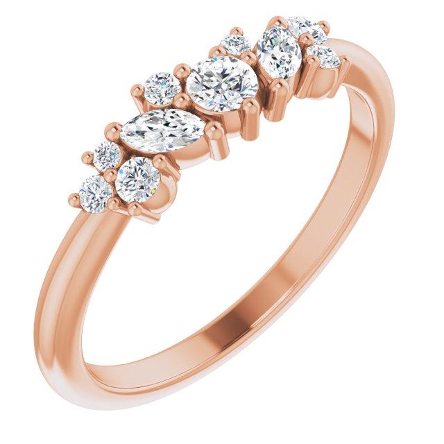 14K Rose 1/3 CTW Diamond Multi-Shape Ring