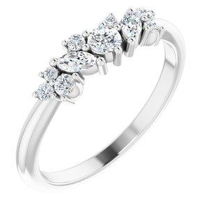 14K White 1/3 CTW Diamond Multi-Shape Ring