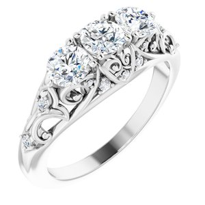 14K White 1 CTW Diamond Vintage-Inspired Three-Stone Anniversary Band