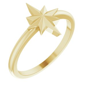 14K Yellow Starburst Ring