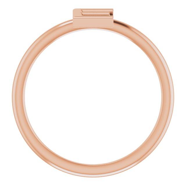 14K Rose Initial E Ring