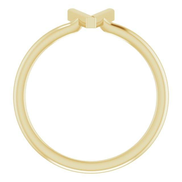 14K Yellow Initial V Ring