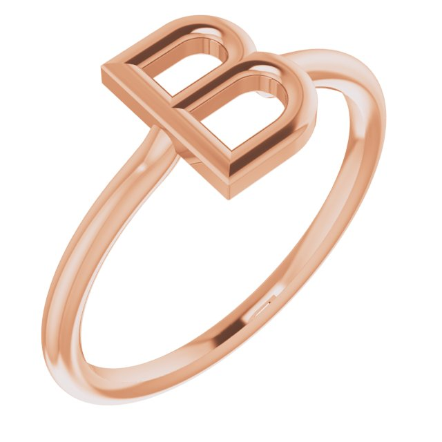 14K Rose Initial B Ring