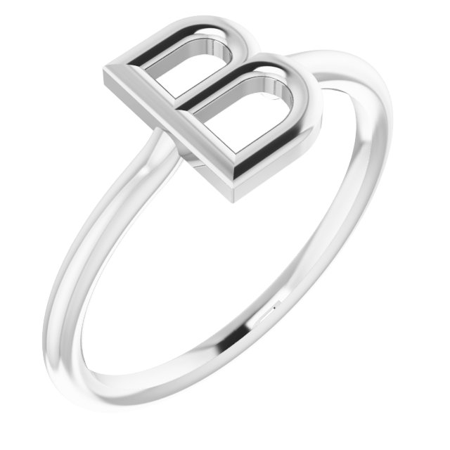 Sterling Silver Initial B Ring