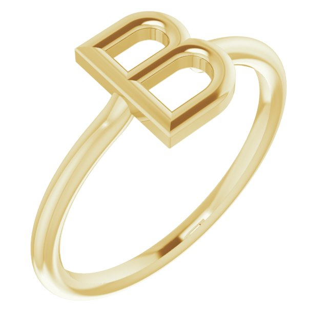 14K Yellow Initial B Ring