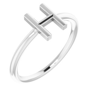 Sterling Silver Initial H Ring