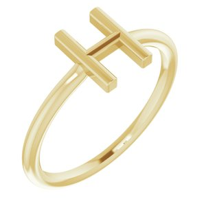 14K Yellow Initial H Ring