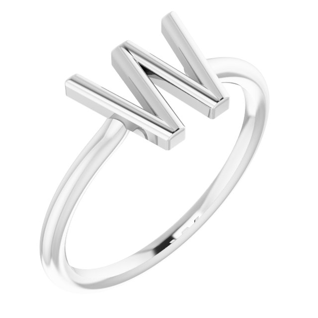 Sterling Silver Initial W Ring