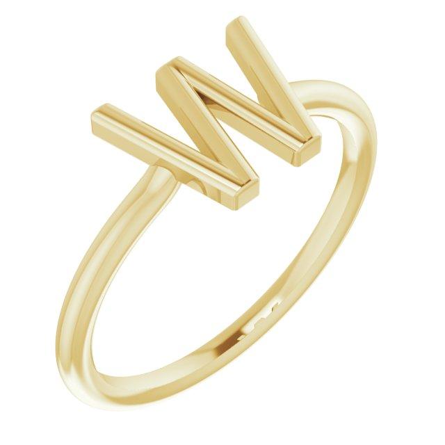 14K Yellow Initial W Ring