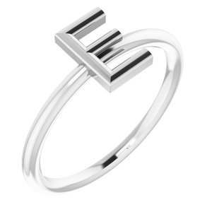 Sterling Silver Initial E Ring