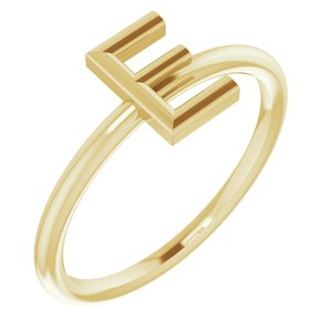 14K Yellow Initial E Ring