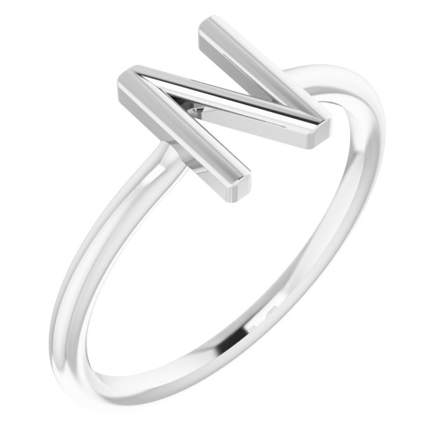 Sterling Silver Initial N Ring