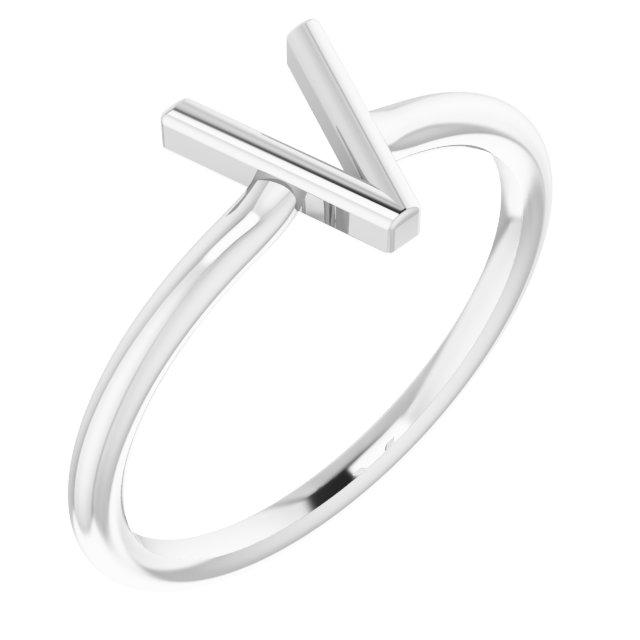 14K White Initial V Ring