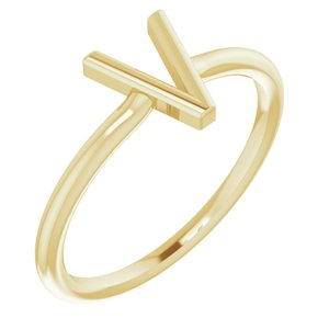 14K Yellow Initial V Ring