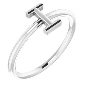 Sterling Silver Initial I Ring