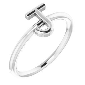 Sterling Silver Initial J Ring