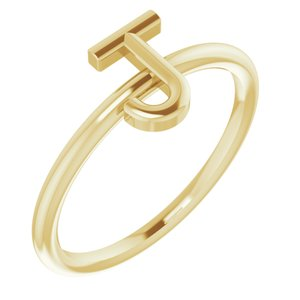 14K Yellow Initial J Ring