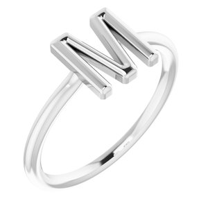 Sterling Silver Initial M Ring