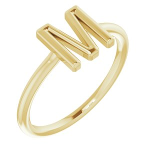 14K Yellow Initial M Ring