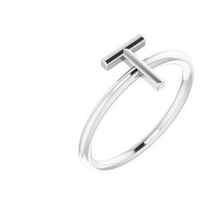 14K White Initial T Ring