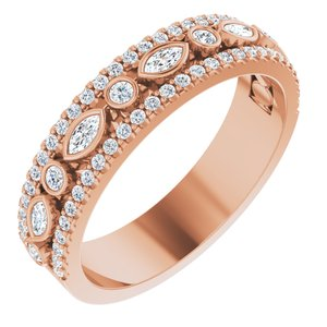 14K Rose 1/6 CTW Diamond Anniversary Band