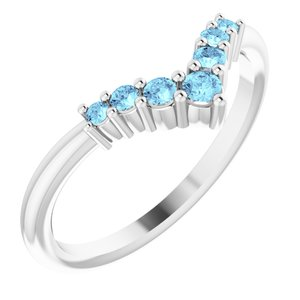 "14K White Aquamarine Graduated ""V"" Ring"
