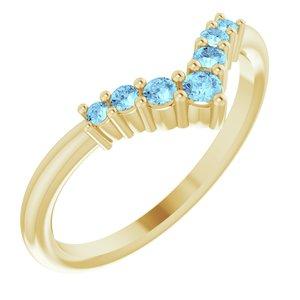 "14K Yellow Aquamarine Graduated ""V"" Ring"