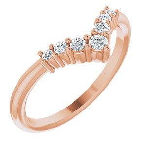 "14K Rose Diamond Graduated ""V"" Ring"