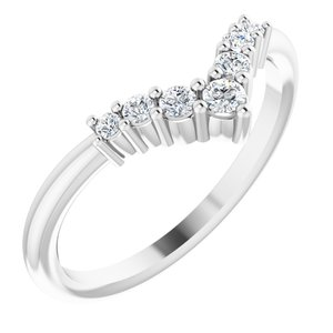 "14K White Diamond Graduated ""V"" Ring"