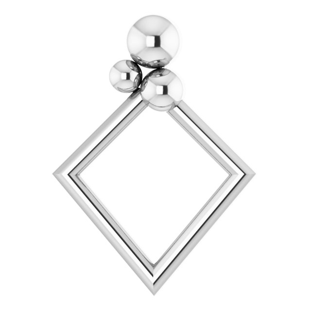 Sterling Silver 16.1x11.8 mm Geometric Pendant