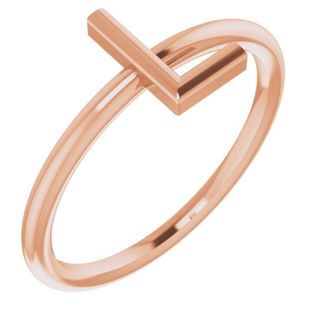 14K Rose Initial L Ring