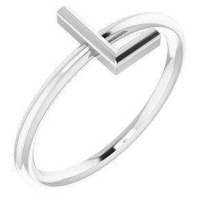14K White Initial L Ring