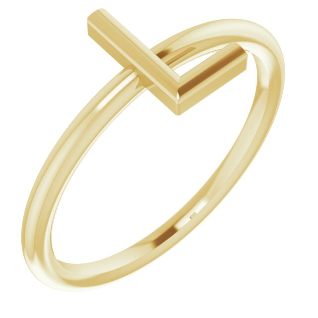 14K Yellow Initial L Ring