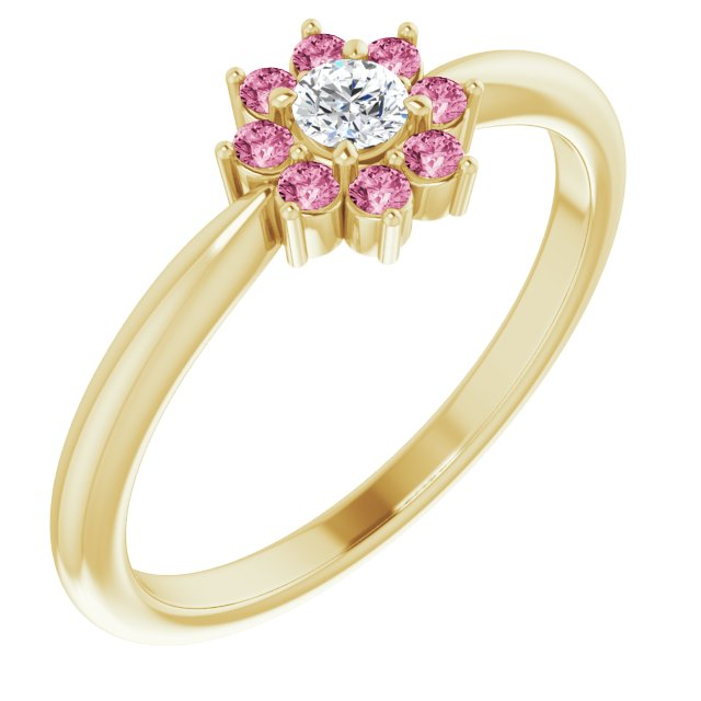 14K Yellow Pink Tourmaline & .06 CT Diamond Flower Ring