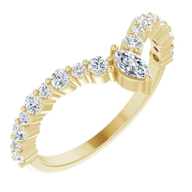14K Yellow 1/2 CTW Diamond V Ring