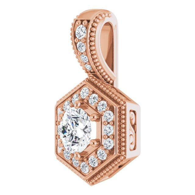 14K Rose 1/2 CTW Diamond Pendant