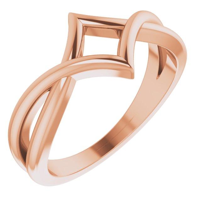 14K Rose Geometric Negative Space Ring